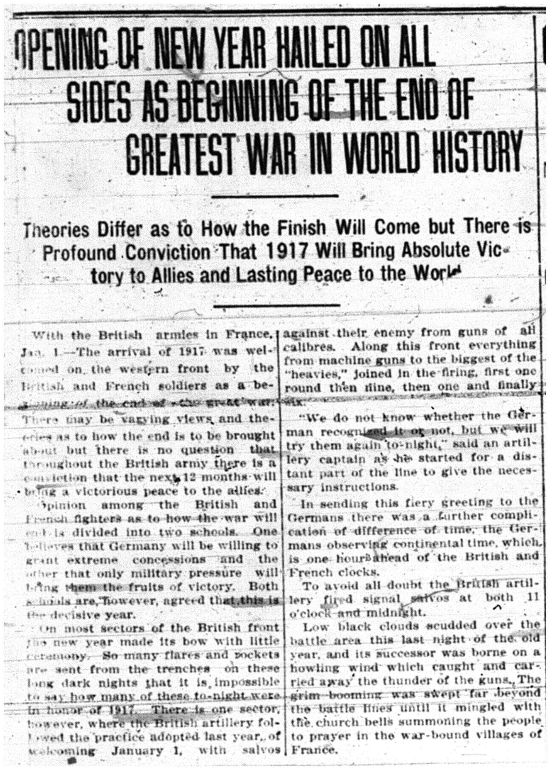 """Opening of New Year Hailed on All Sides as Beginning of the End of Greatest War in History"""