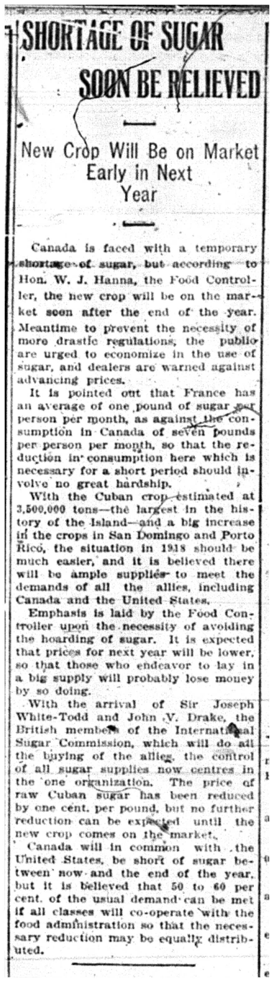 """""""Shortage of Sugar Soon Be Relieved"""""""