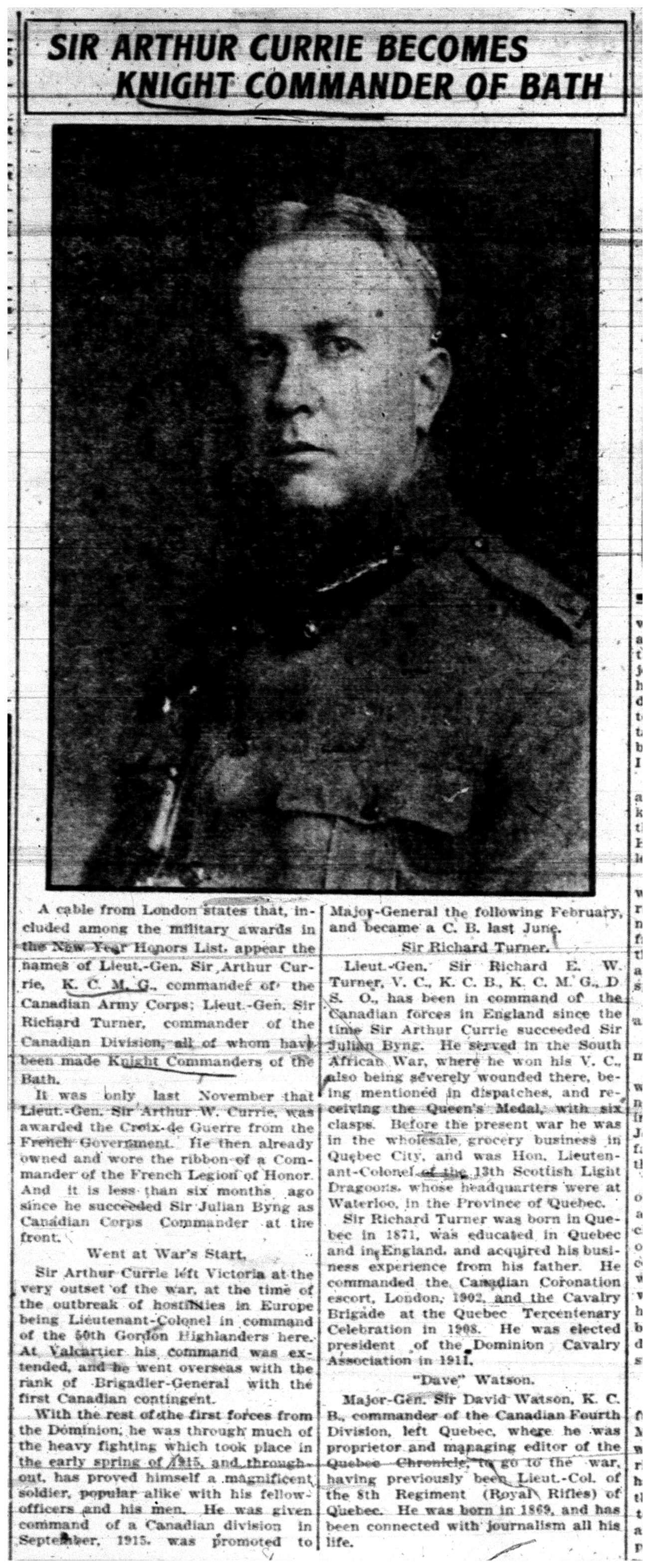 """Sir Arthur Currie Becomes Knight Commander of Bath"" Currie Promotion"