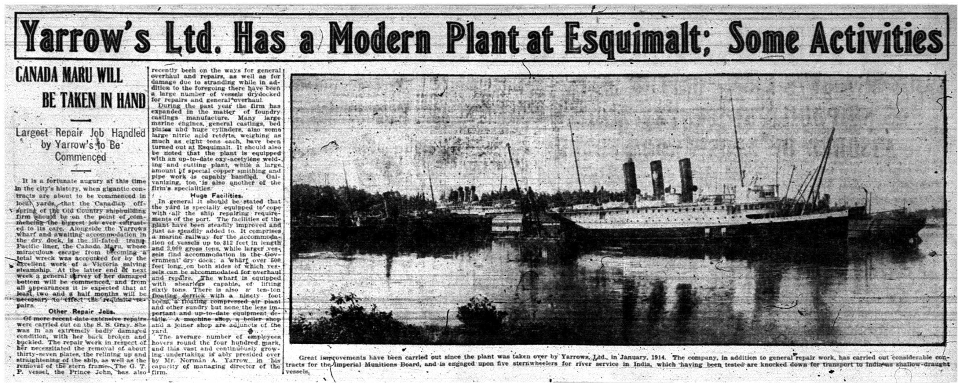"""Yarrow's Ltd. Has a Modern Plant at Esquimalt; Some Activities"""