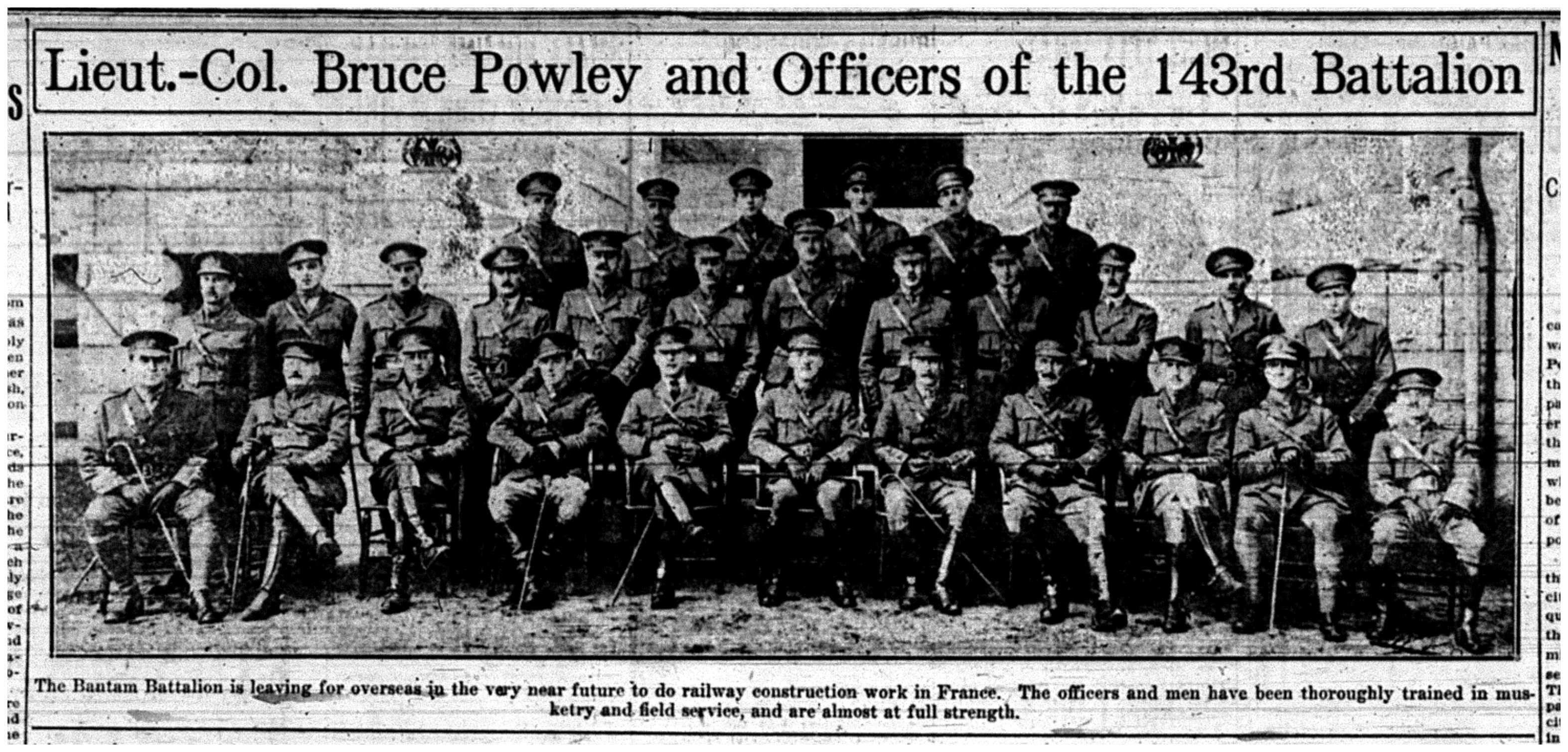 """Lieut.-Col. Bruce Powley and Offciers of the 143rd Battalion"""