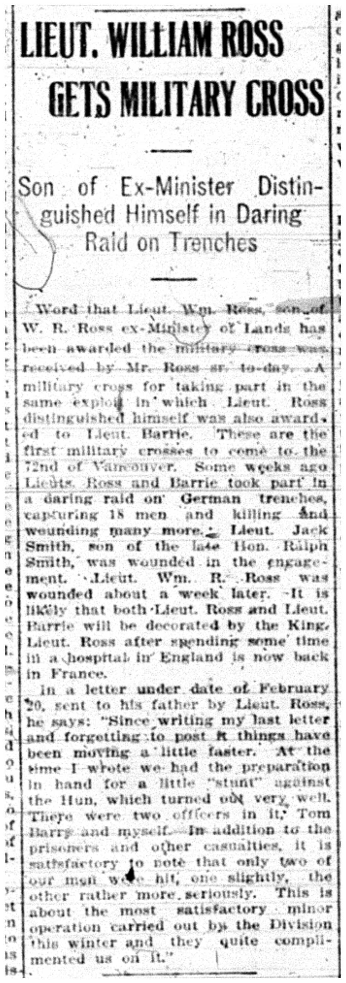 """Lieut. William Ross Gets Military Cross"""