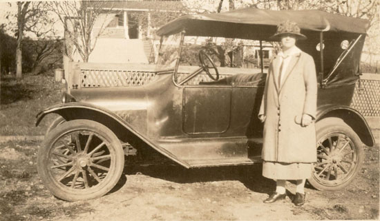 Mrs. Stewart with 1915 Chevrolet