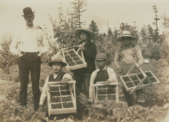 Geoffrey Vantreight with First Nations Strawberry Pickers