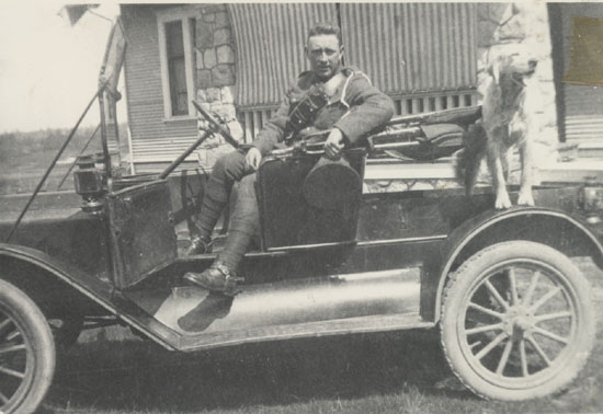 George McMorran with his Model T