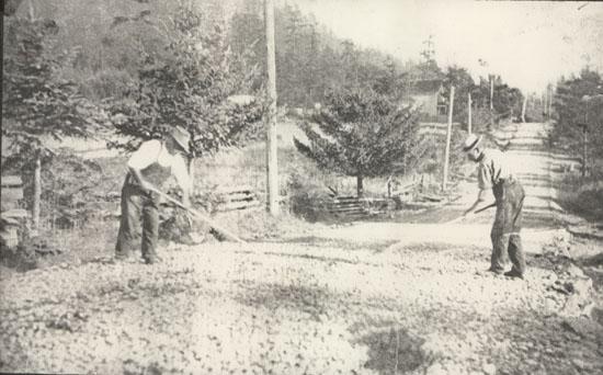 Saanich Municipal Workers Spreading Gravel