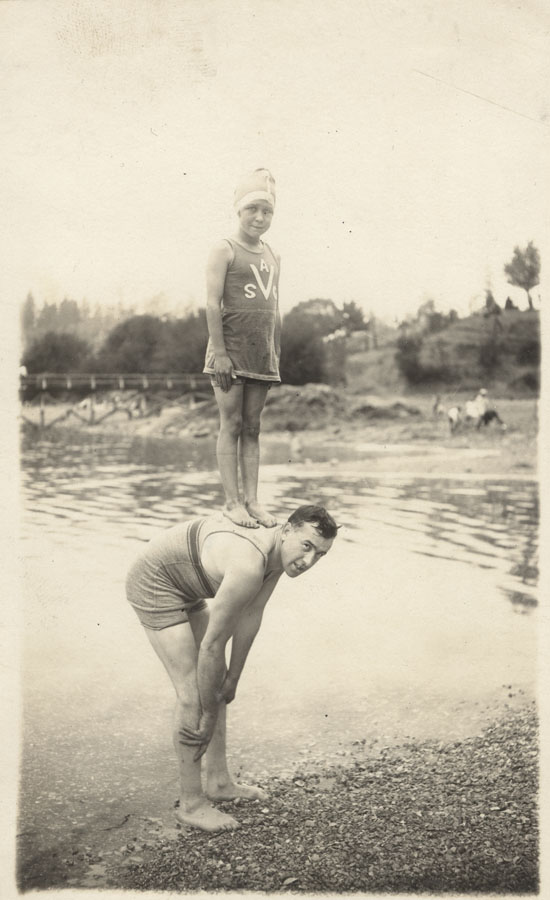 Swimmers Jock McNeill and Josephine Latremouille at Deep Cove