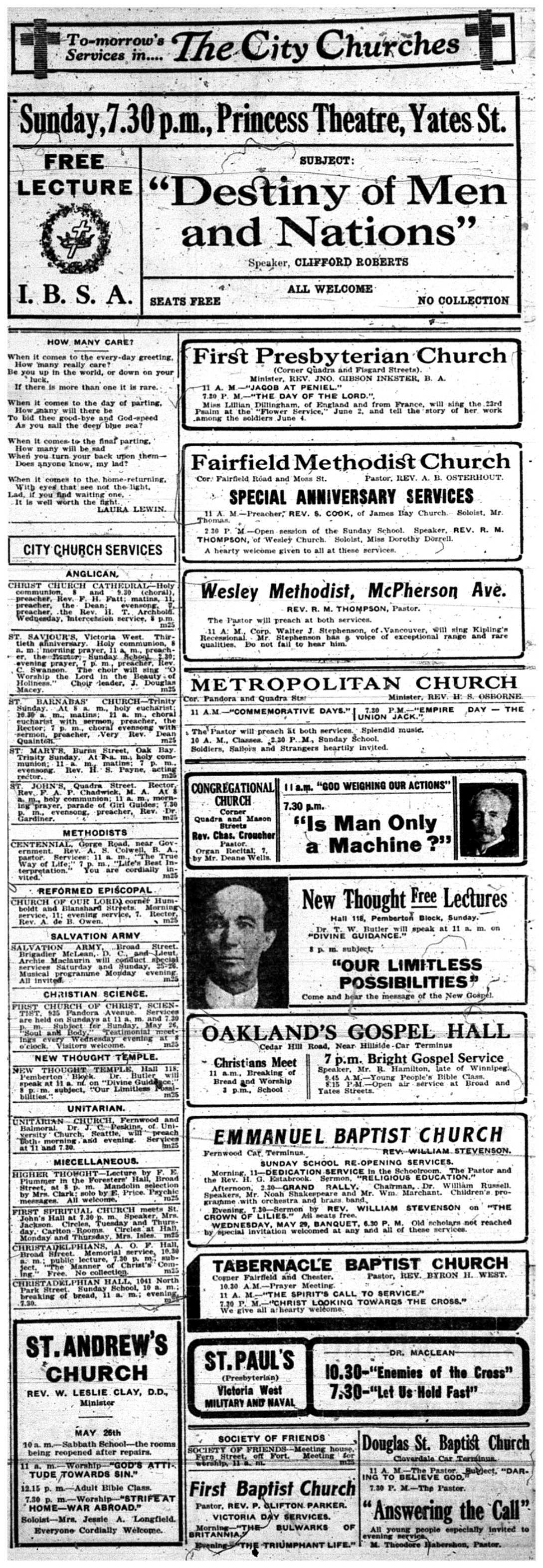 """To-morrow's Services in the City's Churches"""