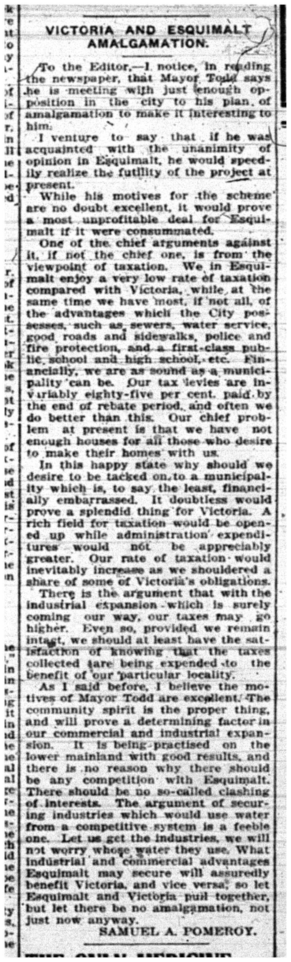 """""""Victoria and Esquimalt Amalgamation"""""""
