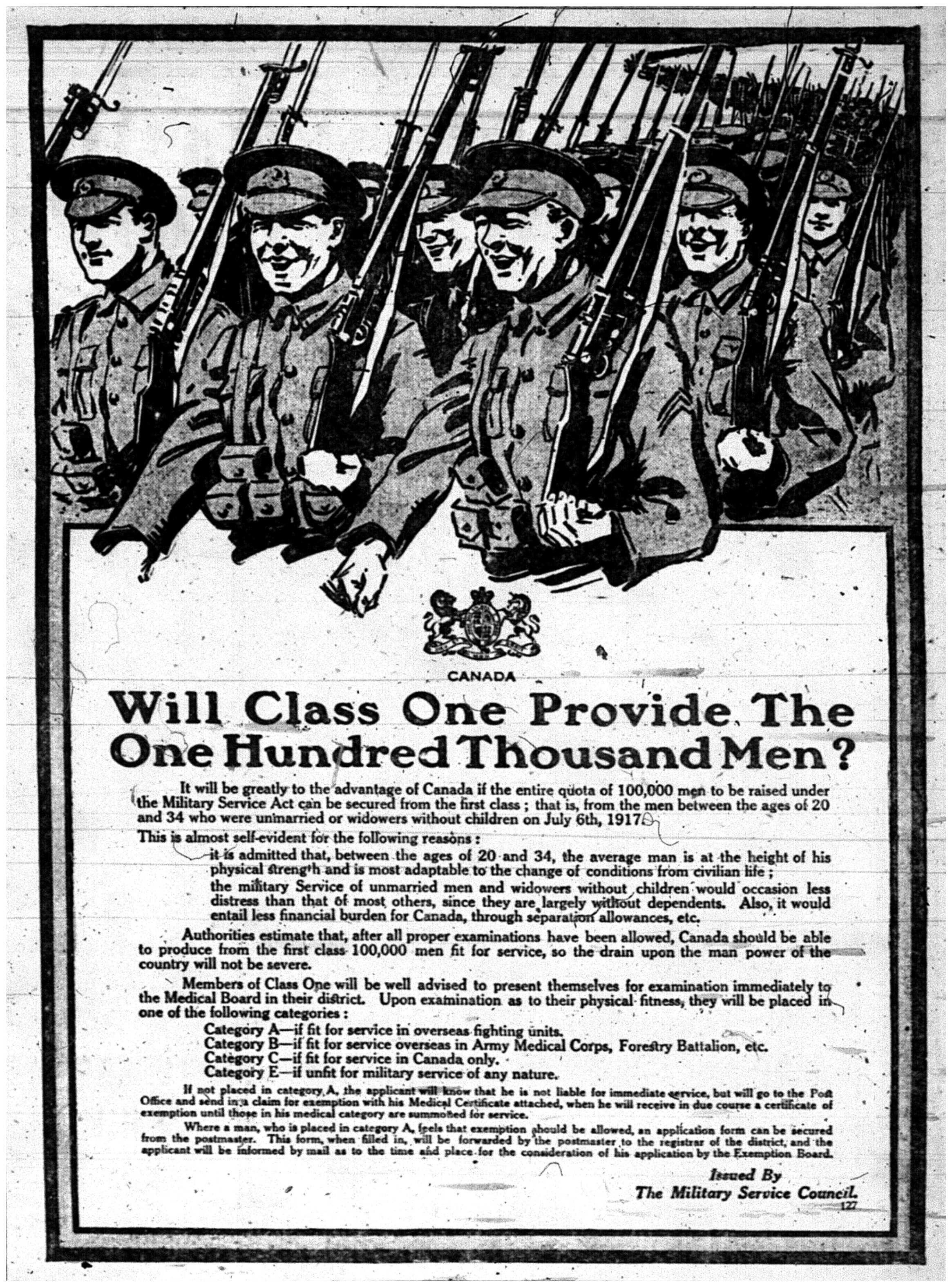 """Will Class One Provide the One Hundred Thousand Men?"""