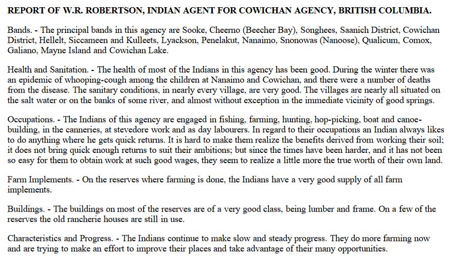 Cowichan agency 1915