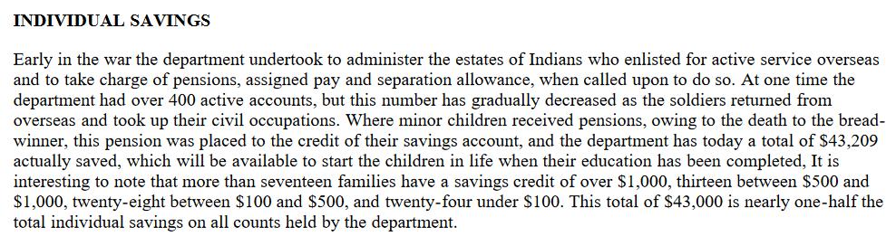 Individual savings 1921