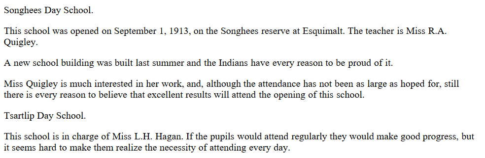 Tsartlip and Songhees Day Schools 1914