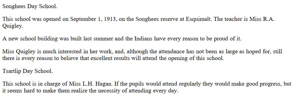 Tsartlip and Songhees Day Schools 1914