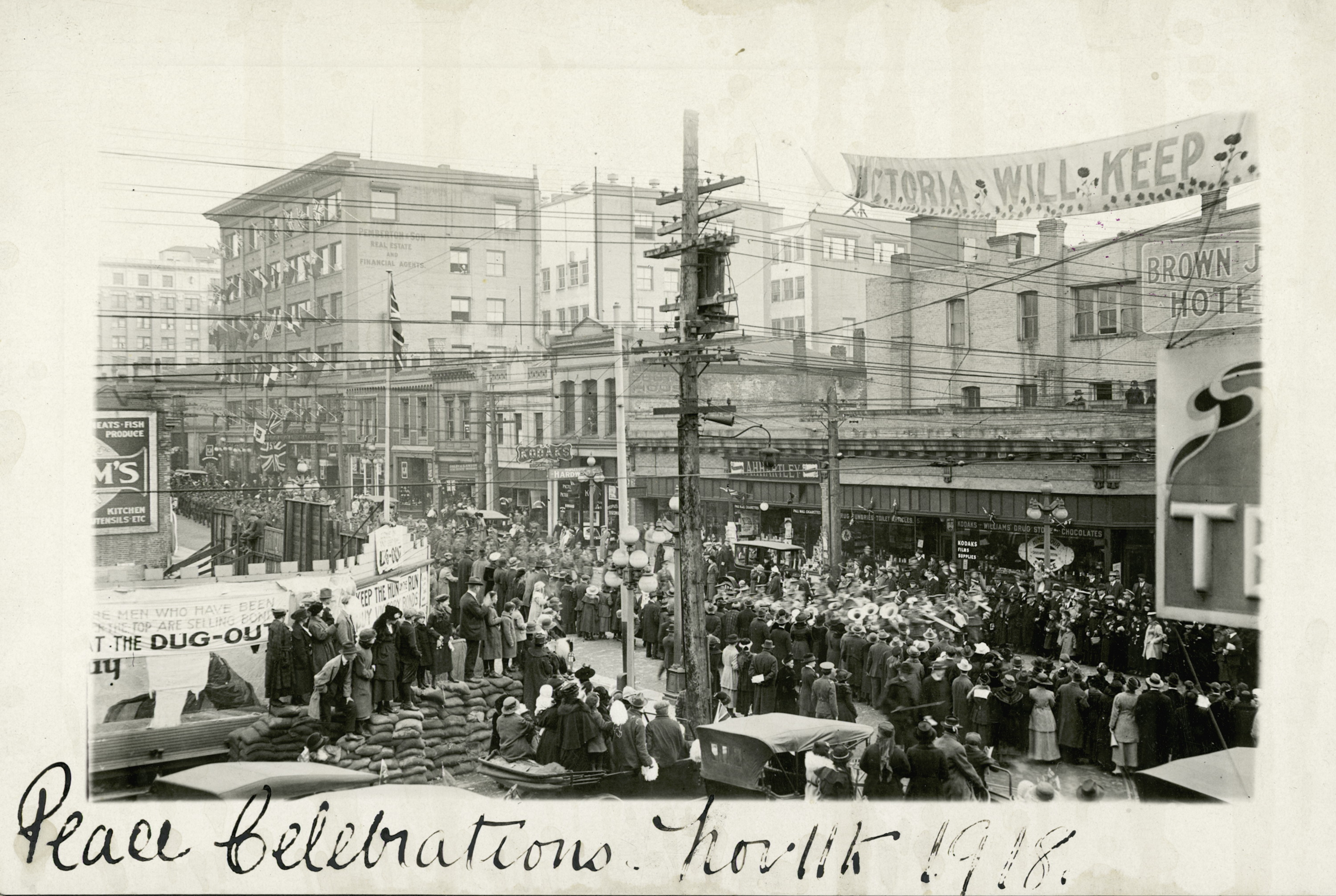 Armistice celebrations in Victoria; looking east on Fort Street from Government Street.