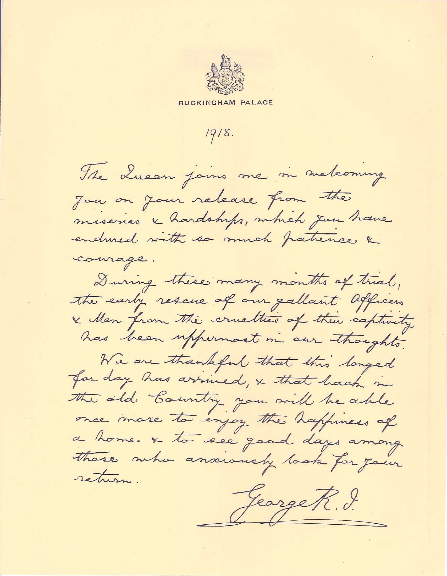 Letter from King George V