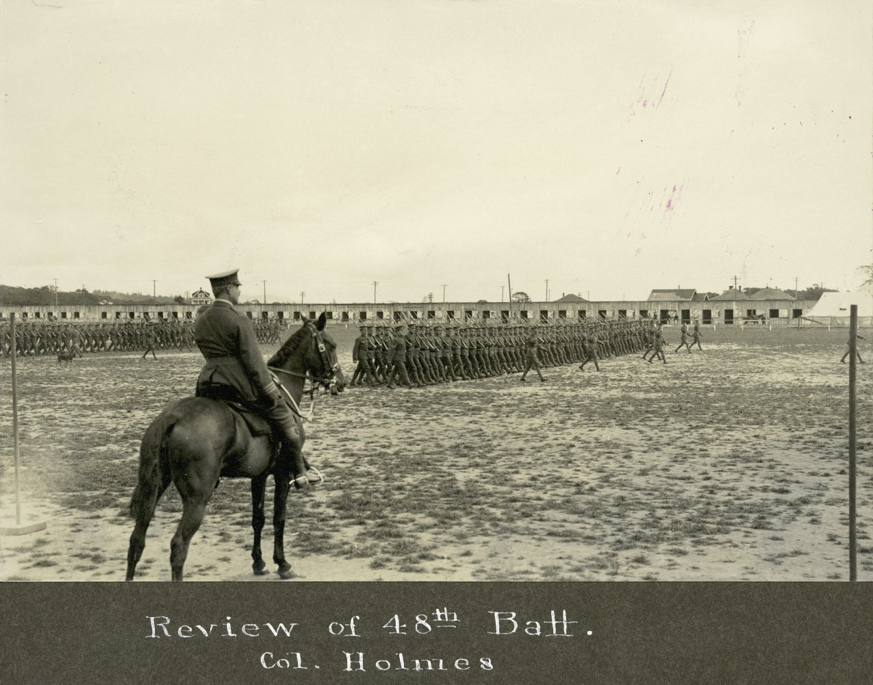Colonel Holmes reviewing the 48th Battalion.