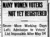 """""Many Women Voters Not Yet Registered"""