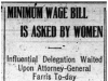 """Minimum Wage Bill is Asked by Women"""