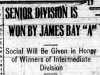 """Senior Division is Won by James Bay 'A'"""
