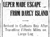 """Leper Made Escape from Darcy Island"""