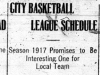 """City Basketball League Schedule"""