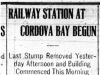 """Railway Station at Cordova Bay Begun"""