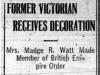 """Former Victorian Receives Decoration"""