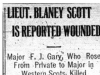 """Lieut. Blayney Scott is Reported Wounded"""