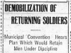 """Demobilizing of Returned Soldiers"""