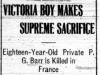 """Victoria Boy Makes Supreme Sacrifice"""