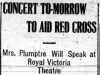 """Concert To-morrow to Aid Red Cross"""