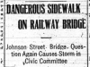 """Dangerous Sidewalk on Railway Bridge"""