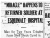 """'Miracle' Happens to Returned Soldier at Esquimalt Hospital"""