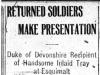 """""""Returned Soldiers Make Presentation"""""""