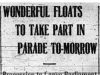 """Wonderful Float to Take Part in Parade To-Morrow"""