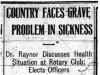 """Country Faces Great Problem in Sickness"""