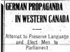 """""""German Propaganda in Western Canada"""""""