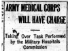 """Army Medical Corps Will Have Charge"""