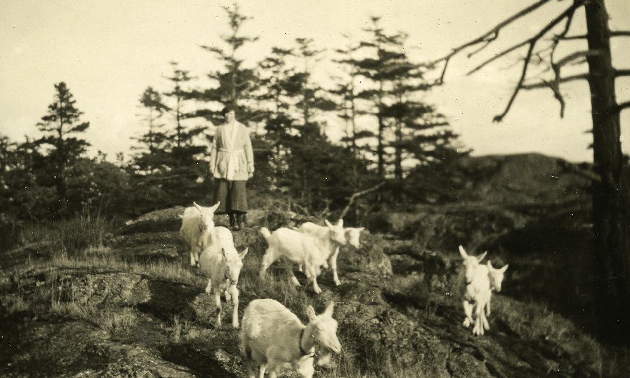 Clara Unwin with Goats