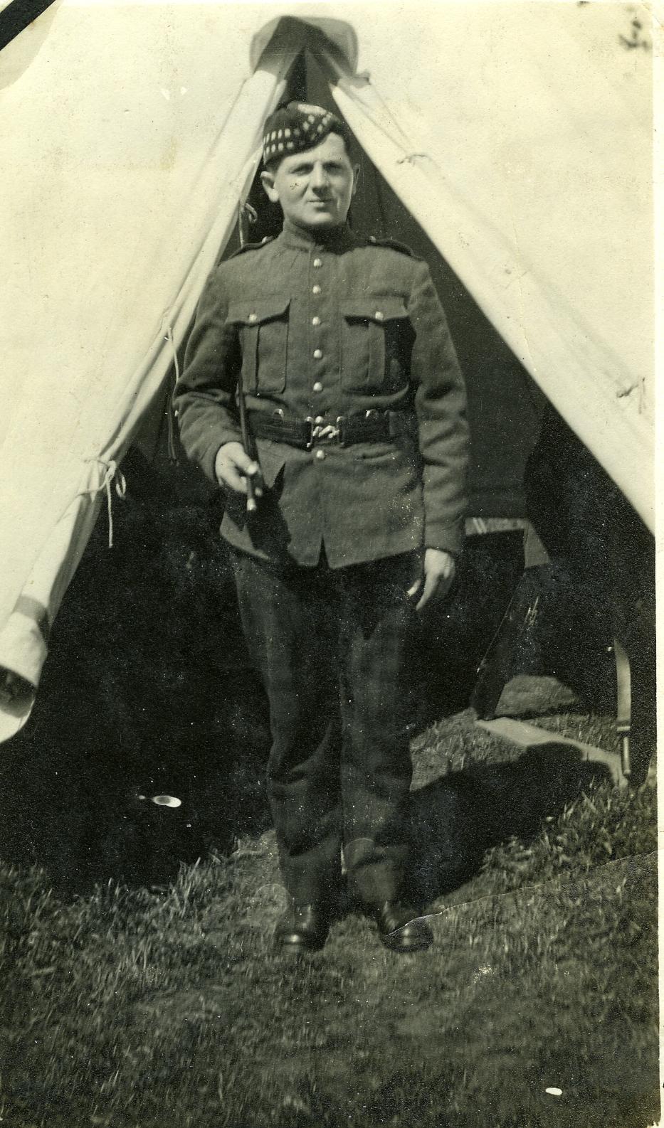 Gordon Highlander in Willows Camp