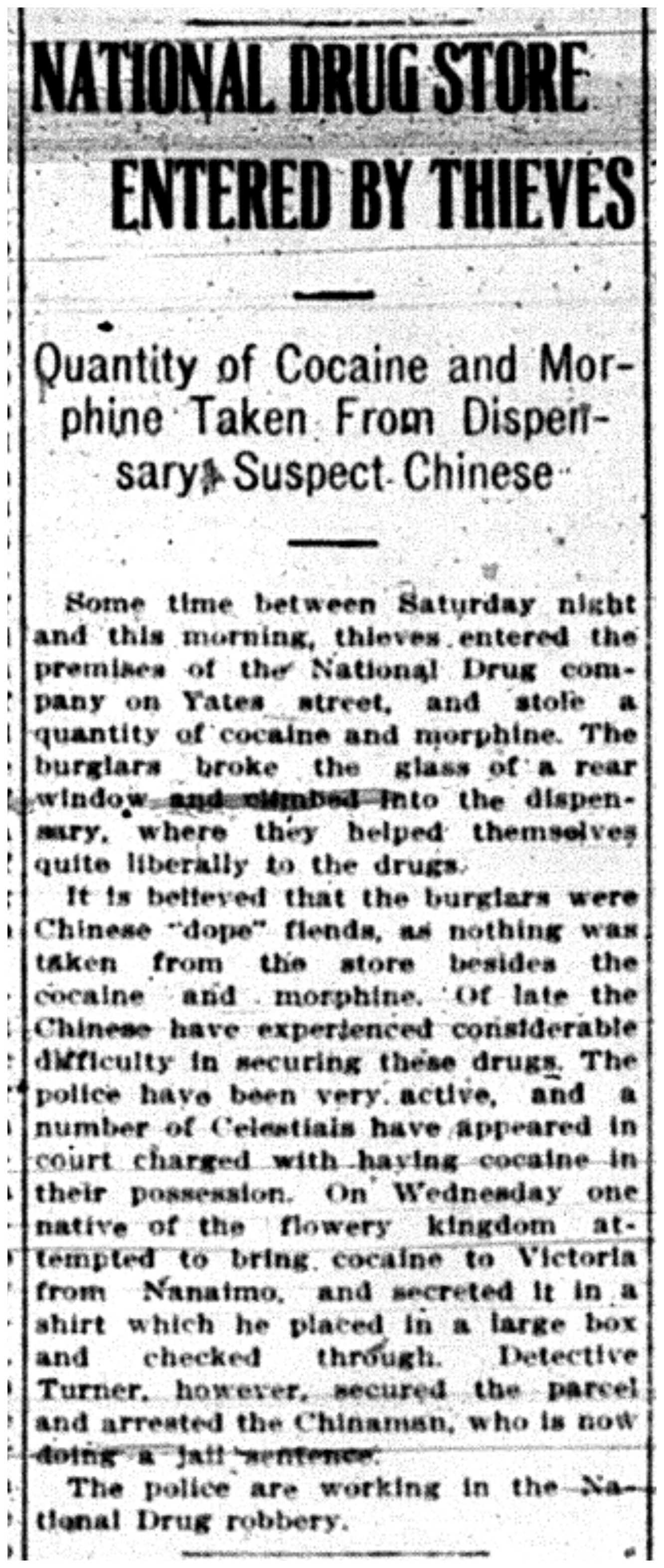 Theft of Drugs 1915
