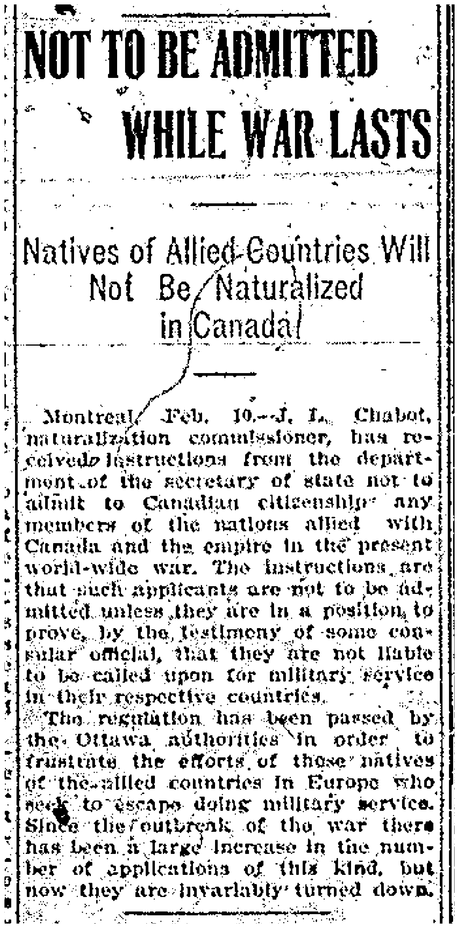 Allied Natives not to be Naturalized