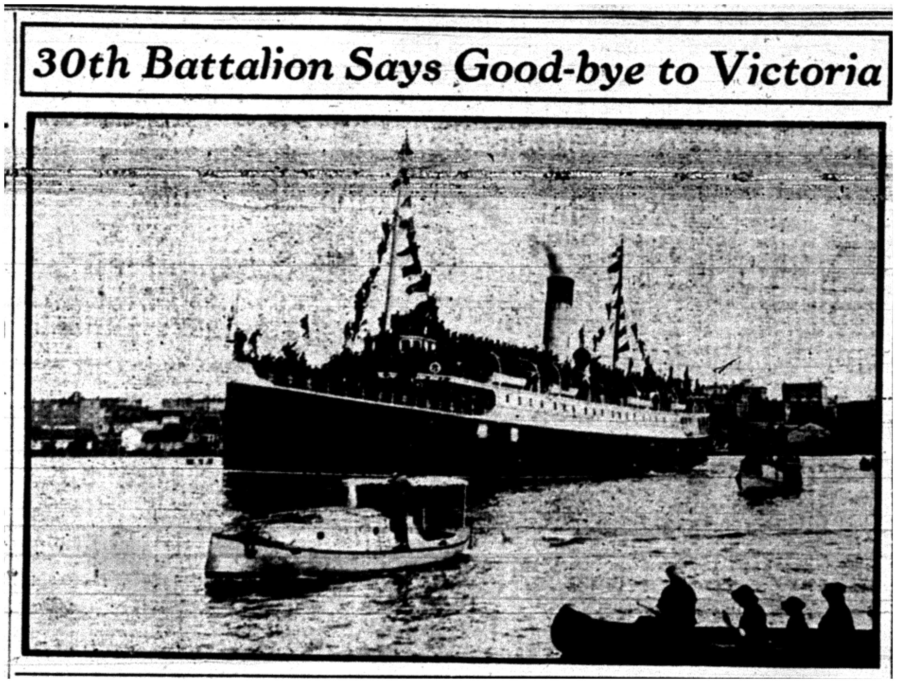 30th Battalion Leaving by Ship