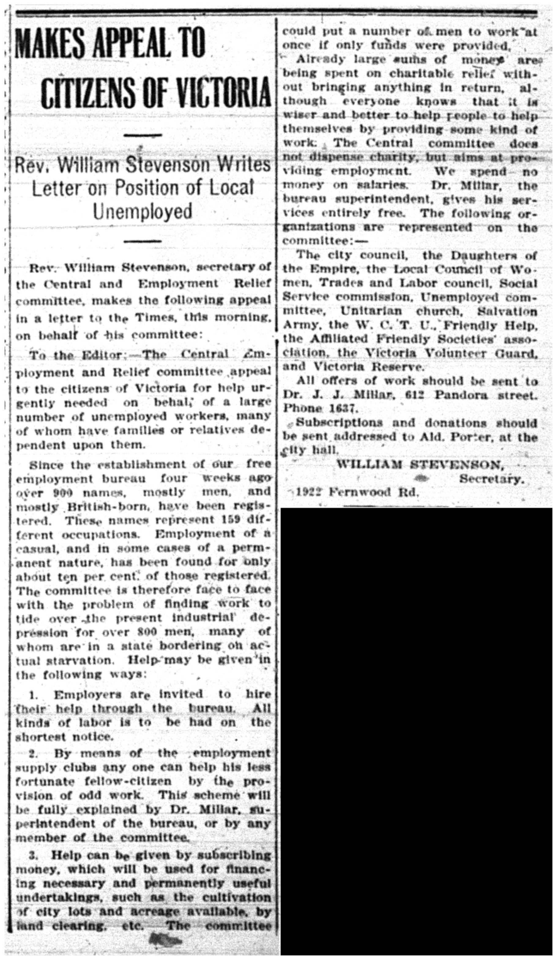 Rev. Stevenson's Unemployment Plea