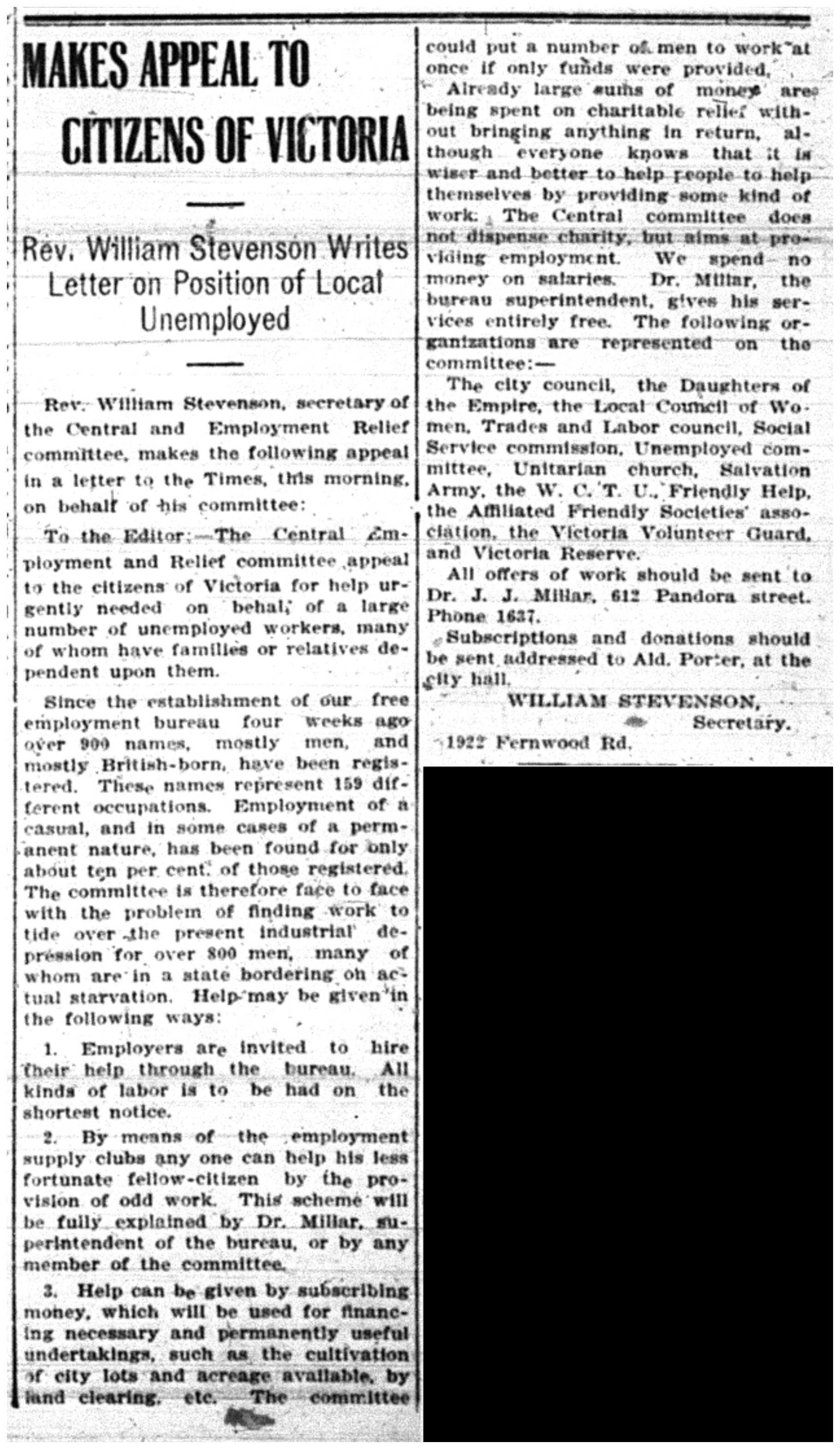 Rev. Stevenson's Unemployment Plea
