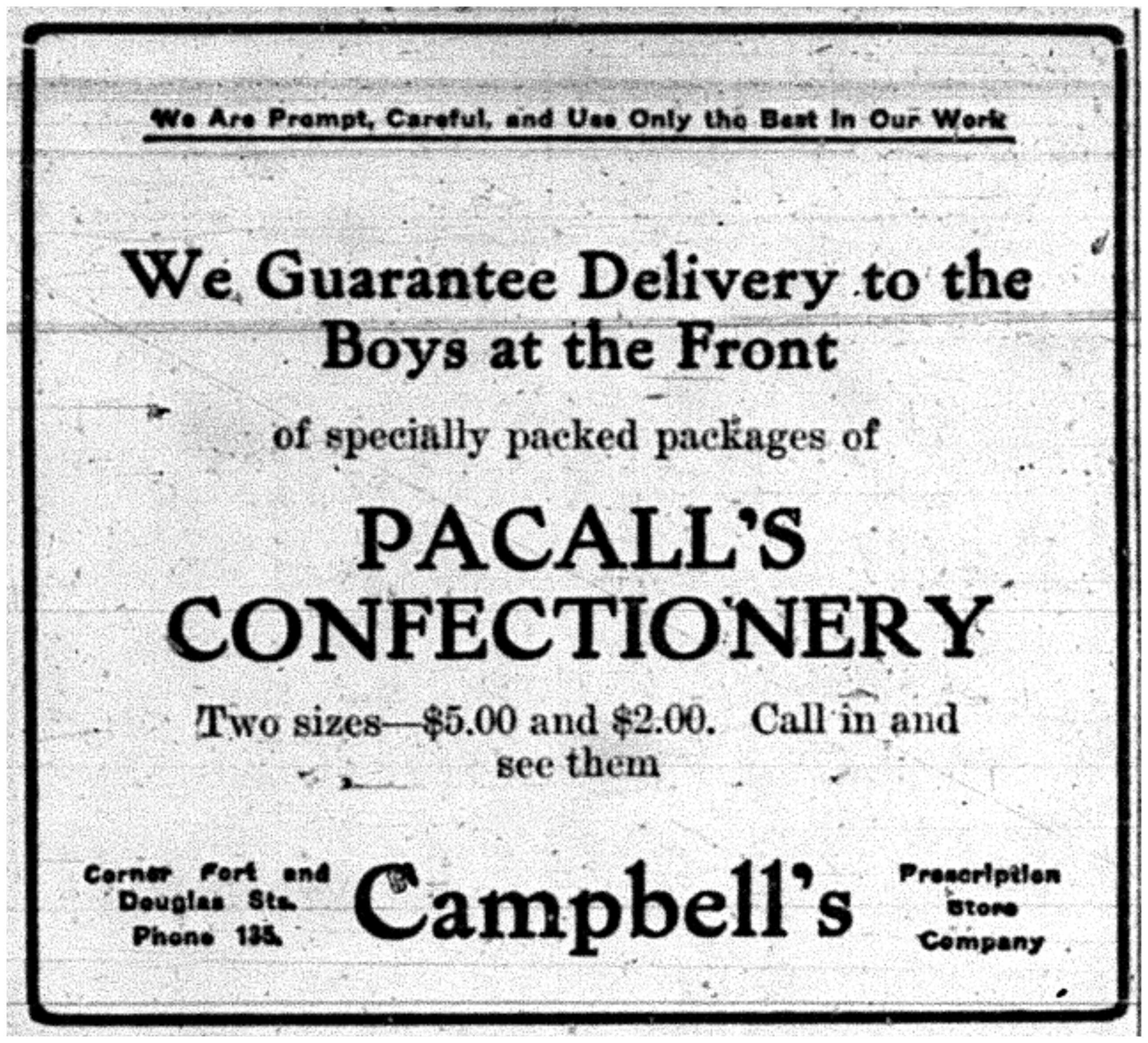 Pascall's Confectionery to the Front