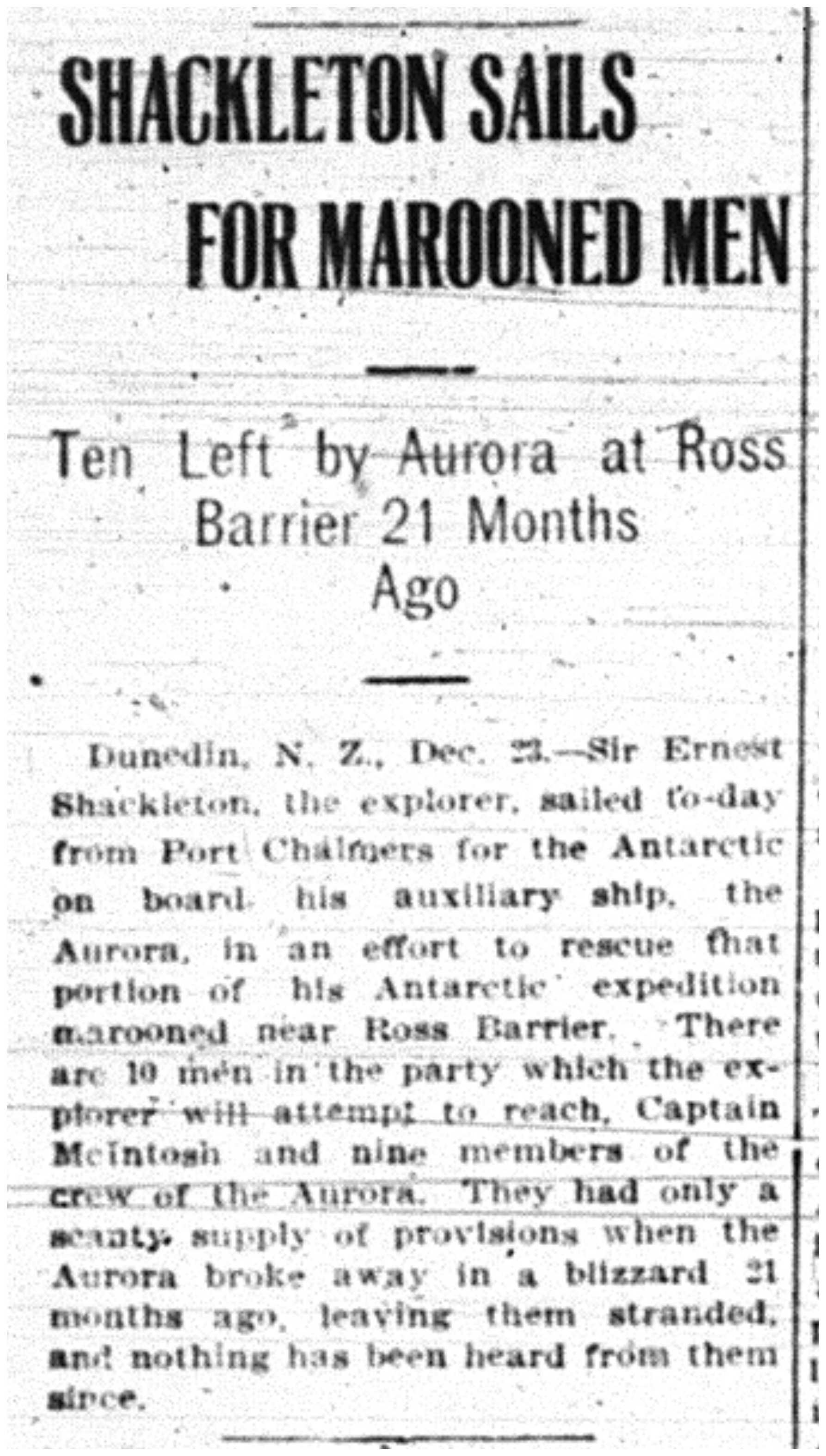 Shackleton Attempts Rescue