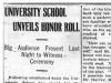 University School Honour Roll