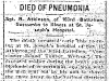 Soldier Dies of Pneumonia